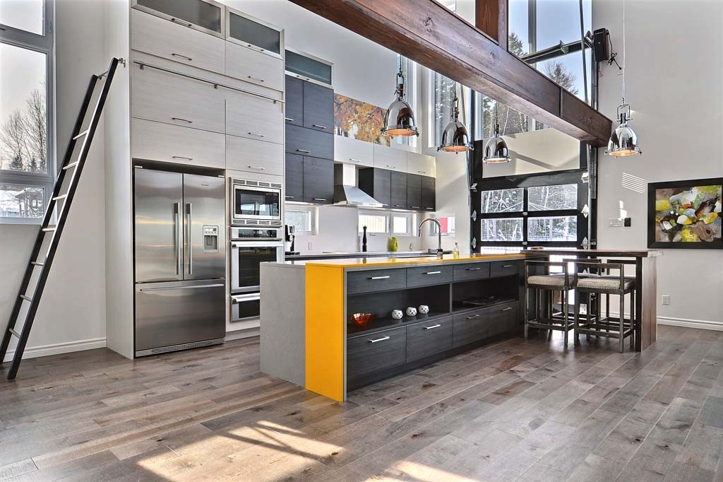 Vue d'ensemble sur les armoires de cuisine